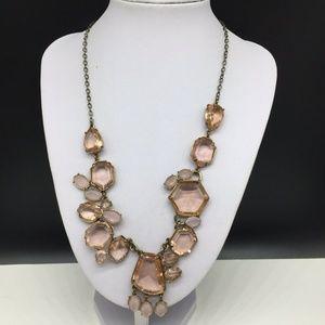 J CREW Light Pink Rhinestone Statement Necklace